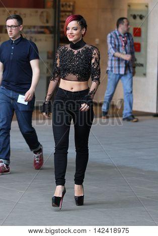 LONDON, UK, JUN 6, 2014: Lily Allen seen leaving the BBC studios image taken from the street