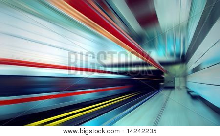 Train on speed in railway station poster