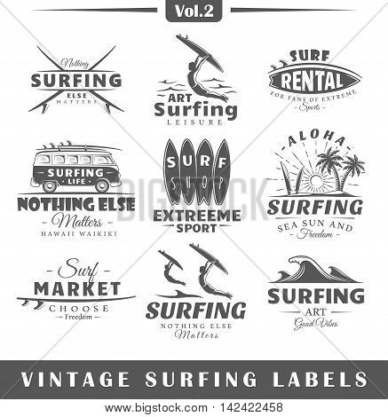 Set of vintage surfing labels. Vol.2. Posters stamps banners and design elements. Vector illustration
