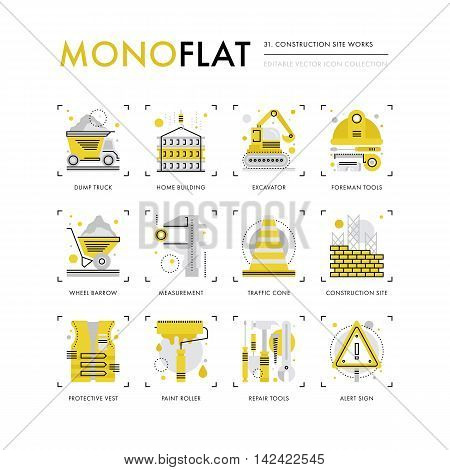 Infographics icons collection of construction site safety crane building foreman equipment. Modern thin line icons set. Premium quality vector illustration concept. Flat design web graphics elements.