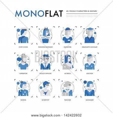 Female Characters Monoflat Icons