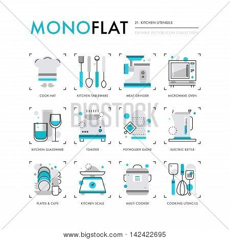 Infographics icons collection of kitchen appliances kitchen utensils and tools for cooking. Modern thin line icons set. Premium quality vector illustration concept. Flat design web graphics elements.