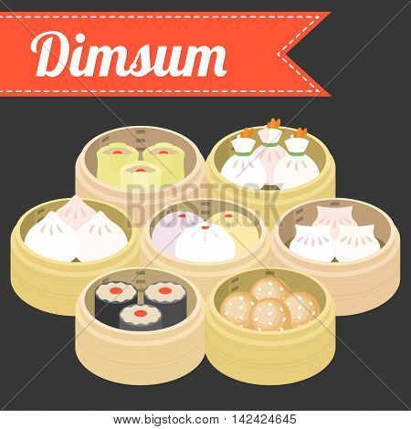 Vector Chinese Food Dimsum, flat style with name