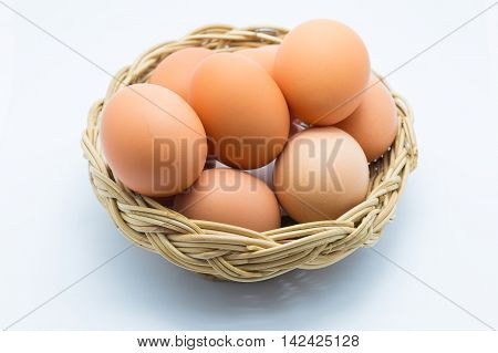 Eggs isolated on white background, fresh eggs