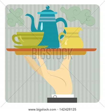 Coffee time. Tray with coffeepot, cup and cream are on the waiter's hand