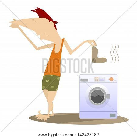 Dirty laundry. Man holds his nose and going to wash dirty laundry