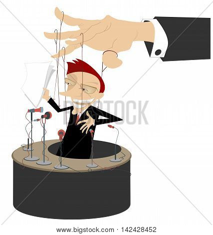 Master of puppet. Men makes a report is controlled by cords like puppet