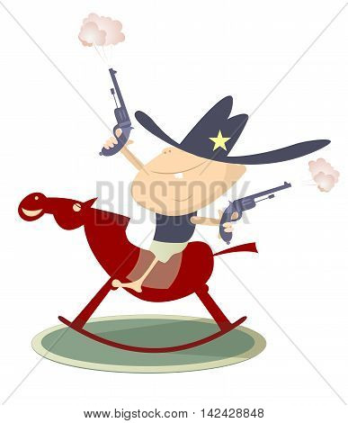 Young sheriff. Baby looks like a sheriff with guns is riding a horse