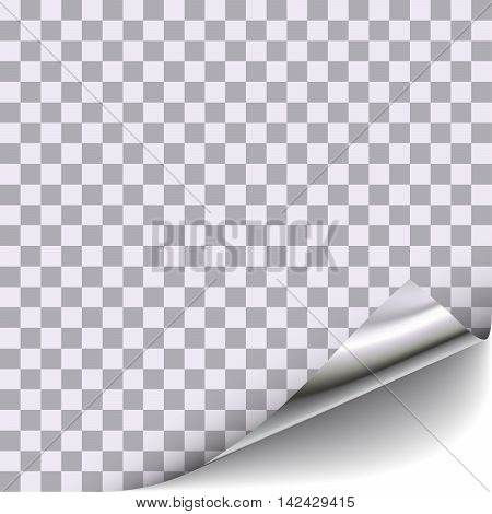 Curled corner with transparent front area background. For page design with curled corner, document design with curled corner, web graphic with curled corner, banner, flyer design with curled corner. Vector Illustration