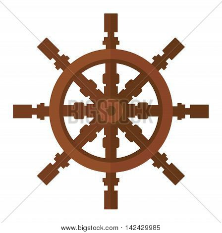 Yacht wheel vector illustration icon rudder isolated on white background. Yacht wheel rudder vector icon illustration. Sea boat wheel isolated vector