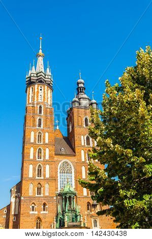 Church of St. Mary in the main Market Square. Basilica Mariacka. Krakow. Poland.
