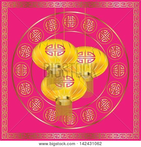 Yellow lanterns and golden pattern on pink background