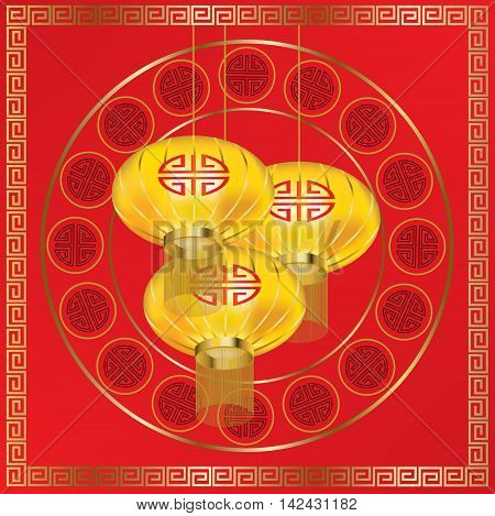 Yellow lanterns and golden pattern on red background