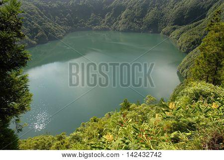 Santiago lake (Lagoa de Santiago) in Sete Cidades area, on the Portuguese island of Sao Miguel in the Azores
