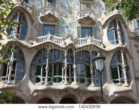 Barcelona Spain 05 july 2016:: Batllo House Facade and windows.