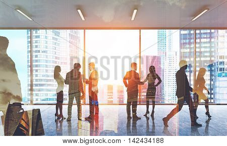 Groups of coworkers talking together. People passing by in office lobby. Concept of effective business communication. 3d rendering. Toned image. Double exposure