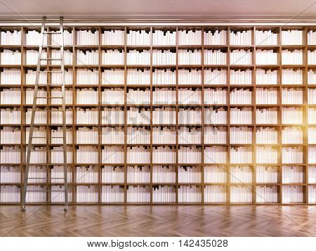 Library interior with rows of book and ladder. Wooden floor. Concept of exact science and importance of reading. 3d rendering. Toned image.