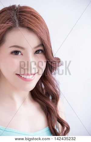 beauty woman smile and look you happily with isolated white background asian