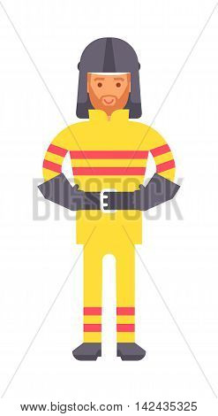 Fireman vector uniform help career icon illustration. Career choice protection fireman concept male character occupation. Cartoon fireman emergency extinguisher safety person character.