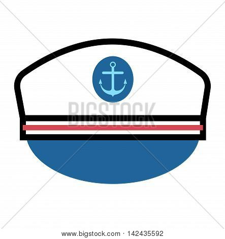 Captain hat flat vector icon. Sailor cap vector flat icon. Flat style captain sea hat. Vector Captain vector hat anchor