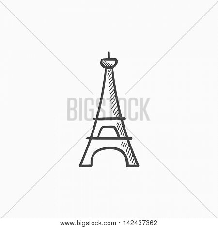 Eiffel Tower vector sketch icon isolated on background. Hand drawn Eiffel Tower icon. Eiffel Tower sketch icon for infographic, website or app.