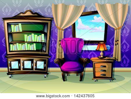 Cartoon Vector Illustration Interior Living Room