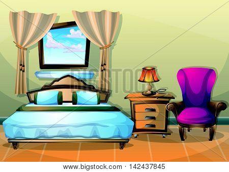 Cartoon Vector Illustration Interior Bedroom