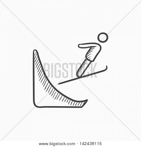 Ski jumping vector sketch icon isolated on background. Hand drawn Ski jumping icon. Ski jumping sketch icon for infographic, website or app.