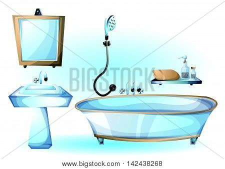 Cartoon Vector Illustration Interior Bathtub Object