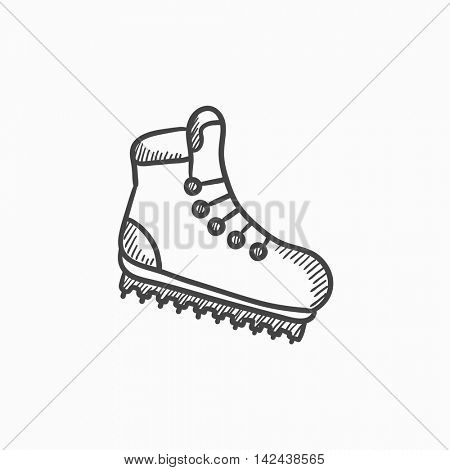 Hiking boot with crampons vector sketch icon isolated on background. Hand drawn Hiking boot with crampons icon. Hiking boot with crampons sketch icon for infographic, website or app.