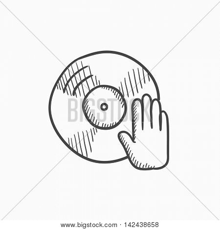 Disc with dj hand vector sketch icon isolated on background. Hand drawn Disc with dj hand icon. Disc with dj hand sketch icon for infographic, website or app.