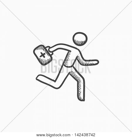 Paramedic running with first aid kit vector sketch icon isolated on background. Hand drawn Paramedic with first aid kit icon. Paramedic with first aid kit sketch icon for infographic, website or app.