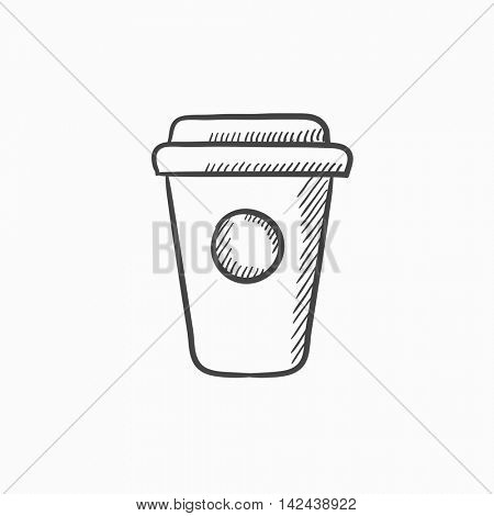 Disposable cup vector sketch icon isolated on background. Hand drawn Disposable cup icon. Disposable cup sketch icon for infographic, website or app.