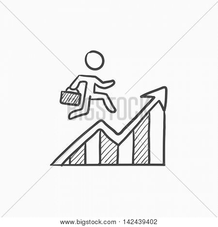 Financial recovery vector sketch icon isolated on background. Hand drawn Financial recovery icon. Financial recovery sketch icon for infographic, website or app.