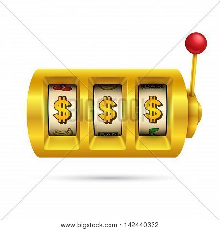 Slot machine isolated on white background. Eps10 vector illustration.