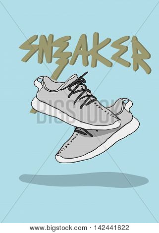 A pair of sneaker sport shoes sneaker illustration trendy design