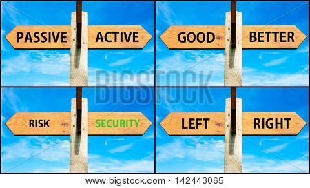 Photo Collage Of Images With Two Opposite Arrows Over Blue Sky