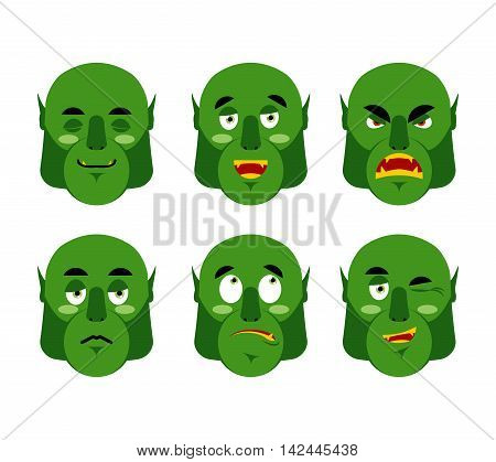 Emotions Ogre. Set Emoji Expressions Avatar Green Monster. Good And Evil Goblin. Discouraged And Che