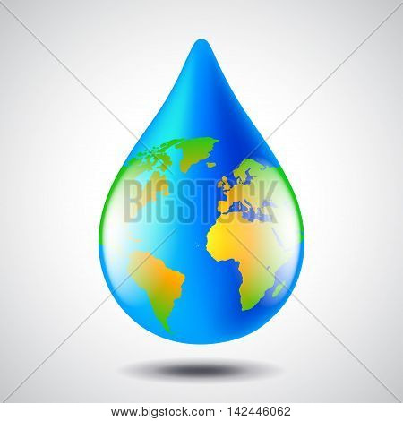 Earth globe in water drop form environment concept vector background