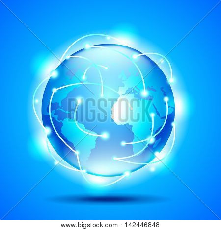 Glowing earth globe on blue background vector background