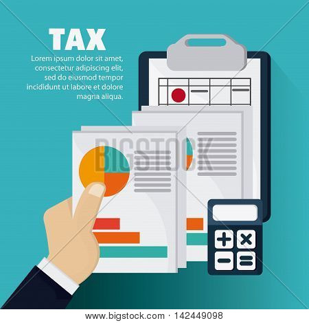 document infographic calculator icon. Tax design. colorful and flat illustration