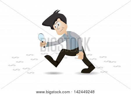 Businessman walking with magnifying glass looking for track of money