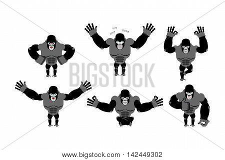 Gorilla Set  Poses. Expression Of Emotions Monkey. Wild Beast And Evil Good. Sad And Happy Animal. B