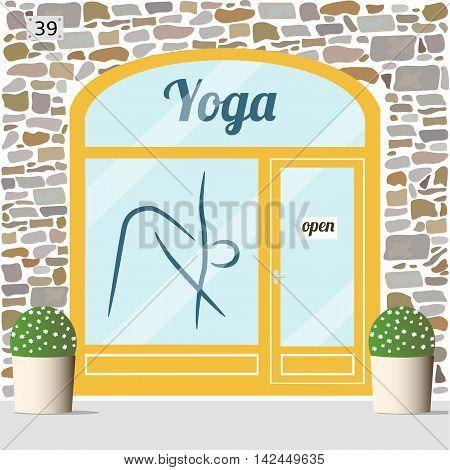 Yoga center building facade. Vector illustration EPS 10.