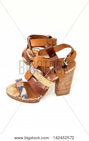 Womens open-toe sandals decorated snake skin isolated on white.