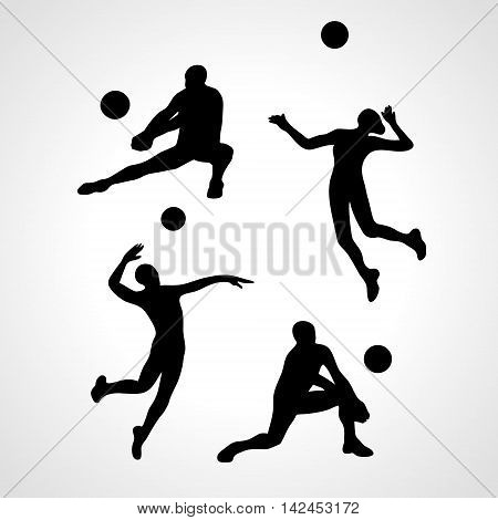 Vector volleyball players, people silhouettes, summer game activity. Eps 8