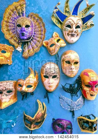 Venice Italy - May 10 2014: Venetian carnival masks souvenir shop on a street of Venice Veneto Italy