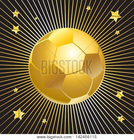 Gold soccer ball with stars on sun rays effect black background. Football award vector illustration. Goal, winner banner.