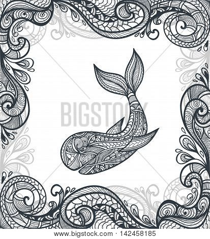 Decorative ornamental whale with frame in  Zen-doodle or  Zen-tangle  pattern black on white for adult coloring page or relax coloring book or wallpaper or for decorate clothes