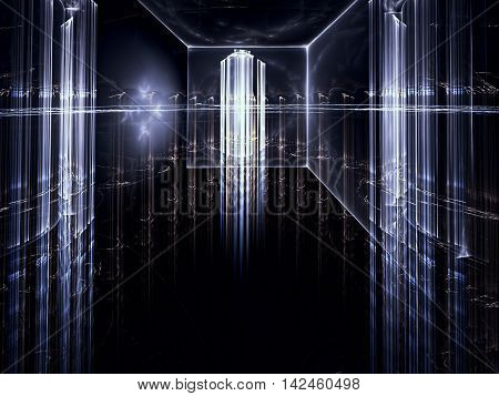 Abstract technology background - computer-generated image. Fractal art: room with glass walls and ceiling, which can be seen through a futuristic city with skyscrapers.